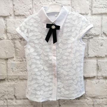 """Блузка """"7 Одёжек 673S-1"""" белая"""
