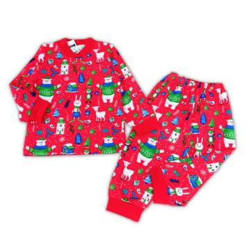 """Пижама с начесом """"Новый год"""" красная"""