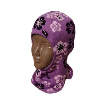 """Шапка-шлем """"Цветы"""" сиреневая"""