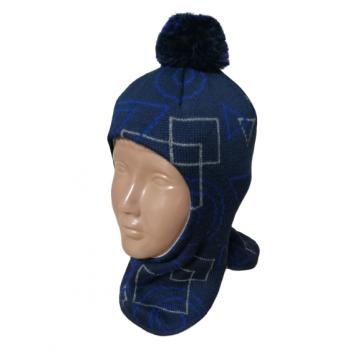 """Шапка-шлем """"Геометрия"""" темно-синяя"""