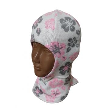 """Шапка-шлем """"Цветы"""" молочная"""
