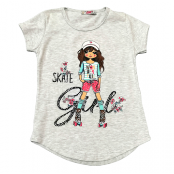 """Футболка """"Skate Girl 1"""" серая"""
