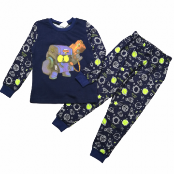 "Пижама с начесом ""BRAWL"" темно-синяя"