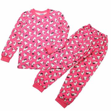 """Пижама с начесом """"Котик с бантом"""" розовая"""