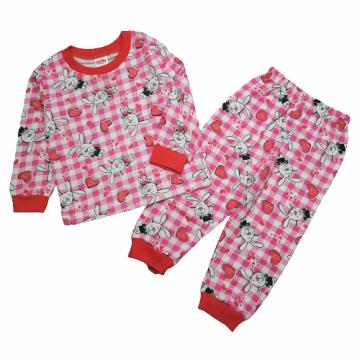 """Пижама с начесом """"Зайчики"""" розовая"""