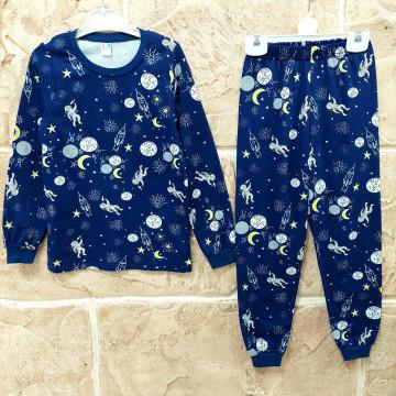 "Пижама с начесом ""Space"" синяя"