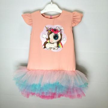 """Платье """"Единорог на радуге"""" персиковое"""