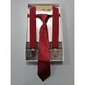 Галстук с подтяжками в подарочной коробке, цвет бордовый