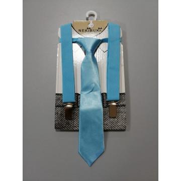 Галстук с подтяжками, цвет голубой