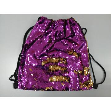 Сумка-рюкзак с пайетками-перевертышами фиолетовая