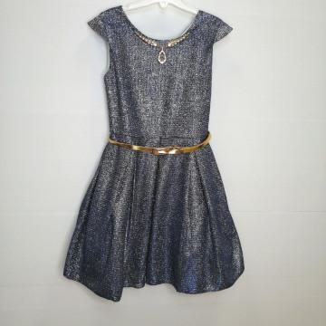 """Платье """"Бриллиантовый блеск"""" серо-синее"""